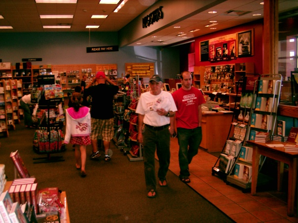 Ed C. (in white T-shirt) purchases first signed copy at Borders Books in Cuyahoga Falls, on Sept. the 12th
